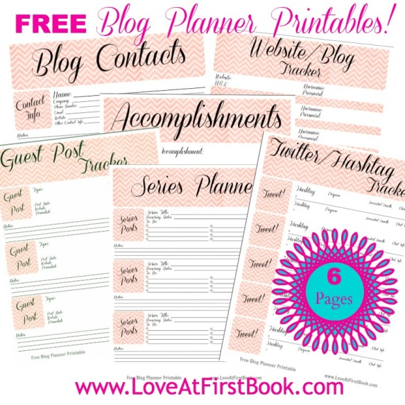 Free Blog Planner Printables via Love at First Book